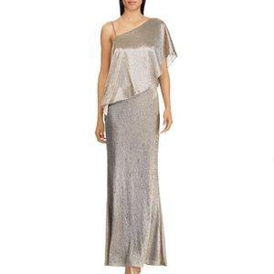 NWT Ralph Lauren Metallic One-Shoulder Gown